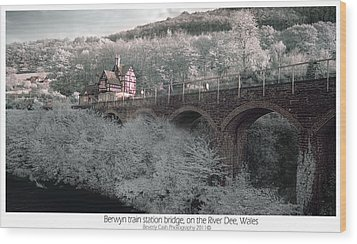 Wood Print featuring the photograph  Infrared Train Station Bridge by Beverly Cash