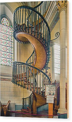Loretto Chapel Staircase Wood Print by Anna Rumiantseva