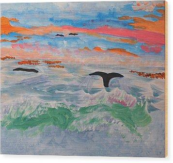 Misty Sea At Sunset Wood Print by Meryl Goudey