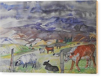 Mixed Farm Animals Graze In Field Wood Print by Annie Gibbons