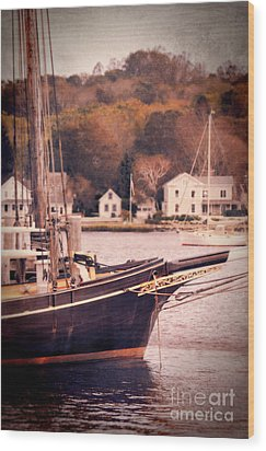 Old Ship Docked On The River Wood Print by Jill Battaglia