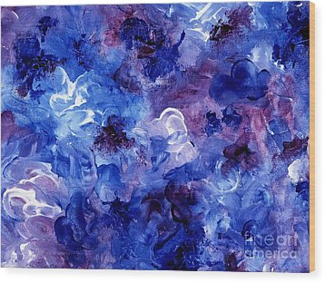Painting Of Flowers Energy In Abstract Form Wood Print by Annie Zeno
