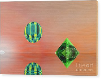 Planet And Piramid Wood Print by Odon Czintos