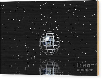 Planet And Stars Wood Print by Odon Czintos