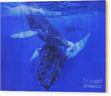 Wood Print featuring the painting  Playful Humpbacks by Noe Peralez
