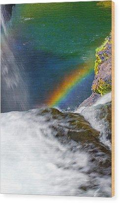 Rainbow By The Waterfall Wood Print