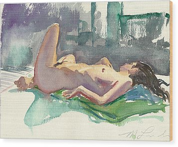 Reclining Nude Wood Print by Mark Lunde