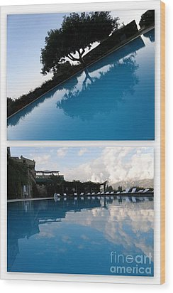 Wood Print featuring the photograph  Reflection. Collage by Tanya  Searcy