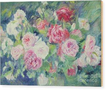 Roses Wood Print by Pierre Auguste Renoir
