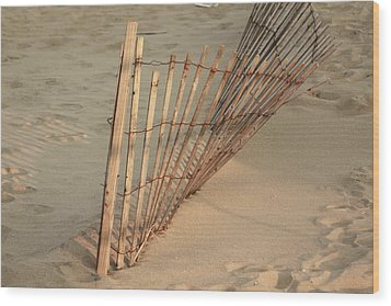 Sandy Beach Fence Wood Print
