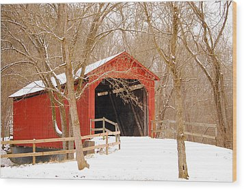 Wood Print featuring the photograph  Sandy Creek Cover Bridge  by Peggy Franz