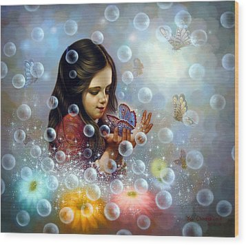 Soap Bubble Girl 2 Wood Print