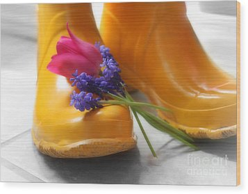 Wood Print featuring the photograph  Spring Boots by Cathy  Beharriell