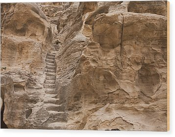 Stairs Lead Up A Rock Face In Little Wood Print by Taylor S. Kennedy