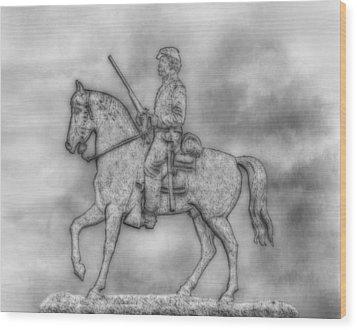 Stone Sentinel Gettysburg Battlefield Sketch Wood Print by Randy Steele
