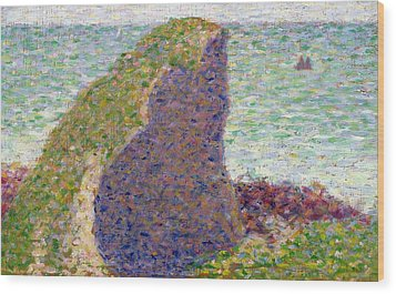 Study For Le Bec Du Hoc Wood Print by Georges Pierre Seurat
