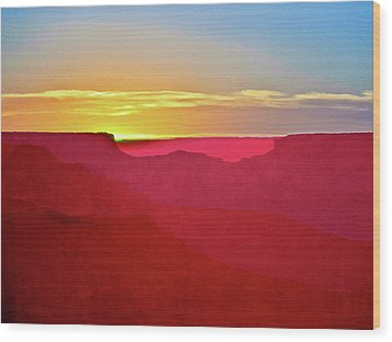 Wood Print featuring the painting   Sunset At Grand Canyon Desert View by Bob and Nadine Johnston