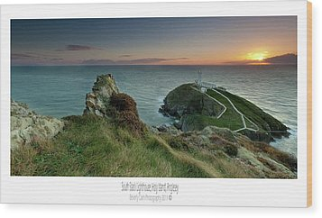 Wood Print featuring the photograph  Sunset At South Stack Lighthouse by Beverly Cash