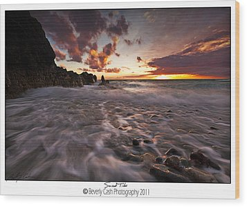 Sunset Tides - Porth Swtan Wood Print by Beverly Cash