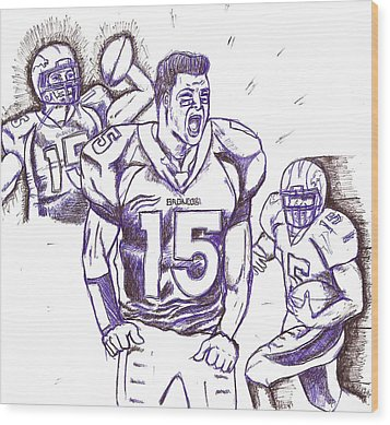Tebow Time Let's Go  Wood Print by HPrince De Artist