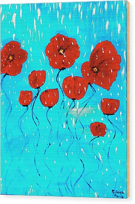 The Red Poppies Dancing In The Rain Wood Print by Pretchill Smith