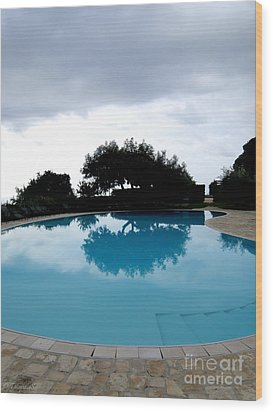 Wood Print featuring the photograph  Tree At The Pool On Amalfi Coast by Tanya  Searcy