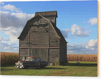 Vintage Cadillac And Barn Wood Print by Lyle Hatch