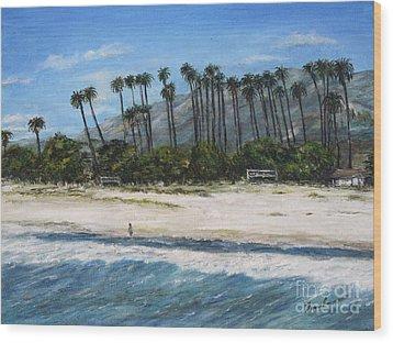 Walk On The Beach Wood Print