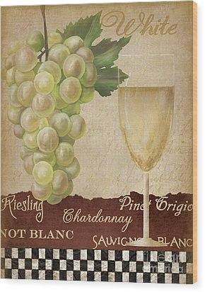 White Wine Collage Wood Print by Grace Pullen