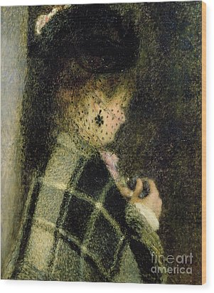 Young Woman With A Small Veil Wood Print by Pierre Auguste Renoir