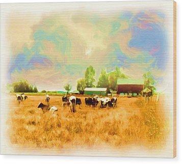 009 Cows In Back 40 - Oil Wood Print by Glen W Ferguson