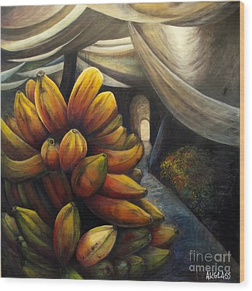 Wood Print featuring the painting 01002 Banana Market by AnneKarin Glass