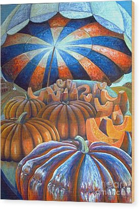 Wood Print featuring the painting 01014 Pumpkin Harvest by AnneKarin Glass