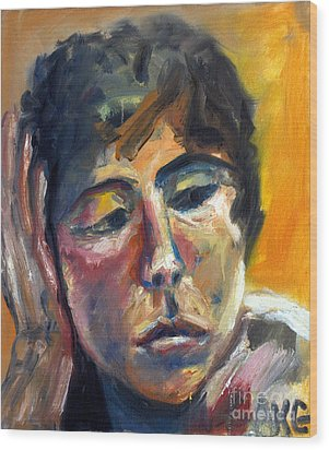 Wood Print featuring the painting 01154 Pensive Clair by AnneKarin Glass