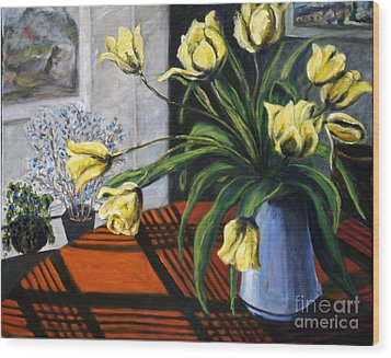 Wood Print featuring the painting 01218 Yellow Tulips by AnneKarin Glass