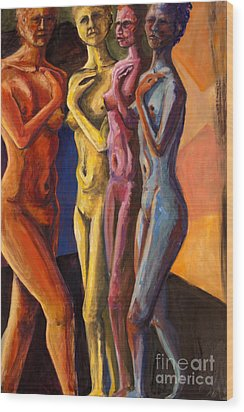 Wood Print featuring the painting 01249 Four Sister by AnneKarin Glass