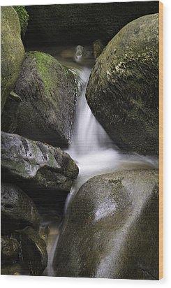 0706-0138 Smith Creek Rocks Wood Print by Randy Forrester