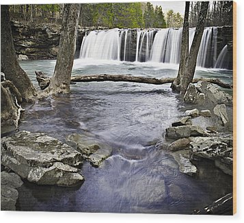 0804-3327 Falling Water Falls 1 Wood Print by Randy Forrester
