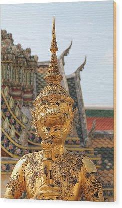 Demon Guardian Statues At Wat Phra Kaew Wood Print by Panyanon Hankhampa