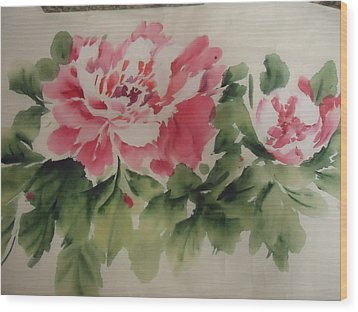 Wood Print featuring the painting  Flower 0727-1 by Dongling Sun