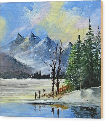 1130b Mountain Lake Scene Wood Print by Wilma Manhardt