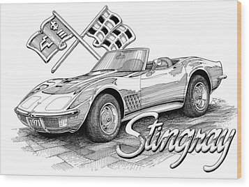 Wood Print featuring the drawing 1972 Corvette by Rod Seel