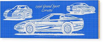 1996 Grand Sport Corvette Blueprint Wood Print