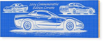 2004 Commemorative Edition Corvette Blueprint Wood Print