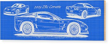2009 C6 Zr1 Corvette Blueprint Wood Print