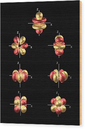 4f Electron Orbitals, General Set Wood Print by Dr Mark J. Winter