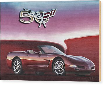 Wood Print featuring the painting 50th Anniversary Corvette by Rod Seel