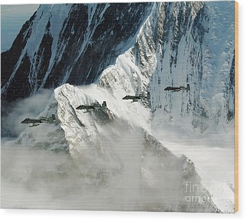 A-10 Thunderbolt IIs Fly Wood Print by Stocktrek Images