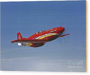 A Dago Red P-51g Mustang In Flight Wood Print by Scott Germain
