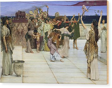 A Dedication To Bacchus Wood Print by Sir Lawrence Alma-Tadema
